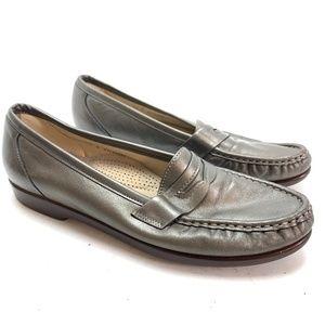 SAS TRIPAD COMFORT Pewter Silver Flats Loafers 9.5